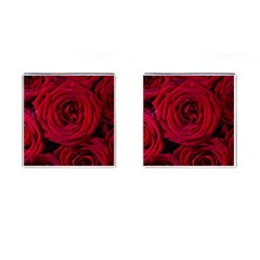 Roses Flowers Red Forest Bloom Cufflinks (Square)