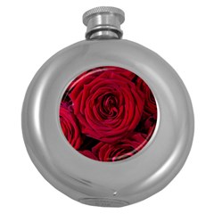 Roses Flowers Red Forest Bloom Round Hip Flask (5 Oz) by Amaryn4rt