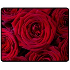 Roses Flowers Red Forest Bloom Fleece Blanket (medium)  by Amaryn4rt