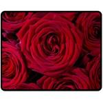 Roses Flowers Red Forest Bloom Fleece Blanket (Medium)