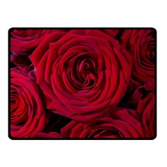 Roses Flowers Red Forest Bloom Fleece Blanket (Small)