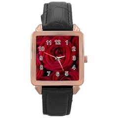 Roses Flowers Red Forest Bloom Rose Gold Leather Watch  by Amaryn4rt