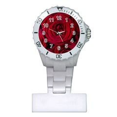 Roses Flowers Red Forest Bloom Plastic Nurses Watch by Amaryn4rt