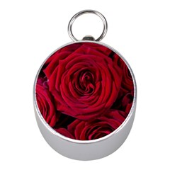 Roses Flowers Red Forest Bloom Mini Silver Compasses by Amaryn4rt
