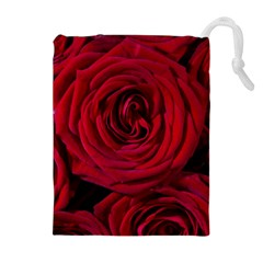 Roses Flowers Red Forest Bloom Drawstring Pouches (extra Large) by Amaryn4rt