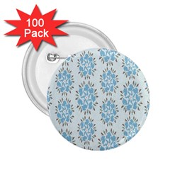 Flower Floral Rose Bird Animals Blue Grey Study 2 25  Buttons (100 Pack)  by Alisyart