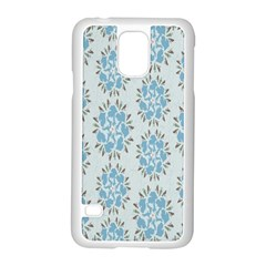Flower Floral Rose Bird Animals Blue Grey Study Samsung Galaxy S5 Case (white) by Alisyart