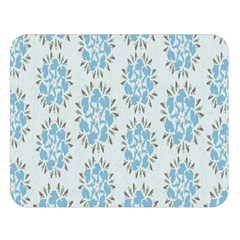 Flower Floral Rose Bird Animals Blue Grey Study Double Sided Flano Blanket (large)  by Alisyart