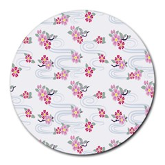 Flower Arrangements Season Sunflower Pink Red Waves Grey Round Mousepads by Alisyart