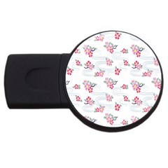 Flower Arrangements Season Sunflower Pink Red Waves Grey Usb Flash Drive Round (2 Gb) by Alisyart