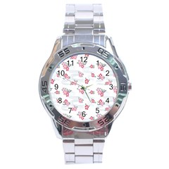 Flower Arrangements Season Sunflower Pink Red Waves Grey Stainless Steel Analogue Watch
