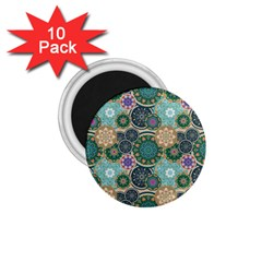 Flower Sunflower Floral Circle Star Color Purple Blue 1 75  Magnets (10 Pack)  by Alisyart