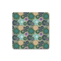 Flower Sunflower Floral Circle Star Color Purple Blue Square Magnet by Alisyart