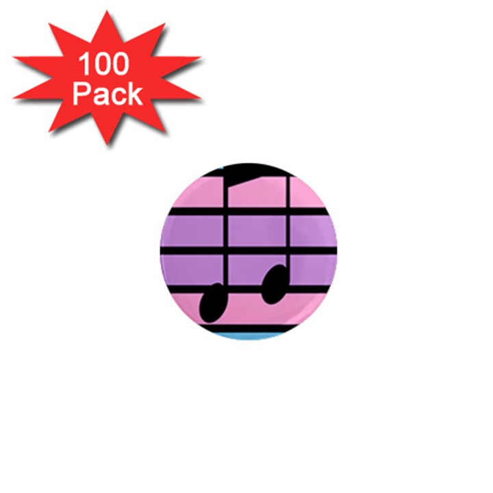 Music Gender Pride Note Flag Blue Pink Purple 1  Mini Magnets (100 pack)