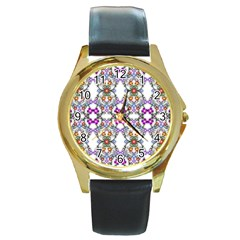 Floral Ornament Baby Girl Design Round Gold Metal Watch by Amaryn4rt