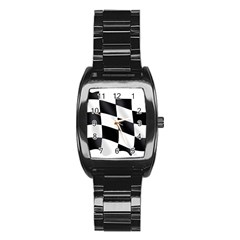 Flag Chess Corse Race Auto Road Stainless Steel Barrel Watch by Amaryn4rt