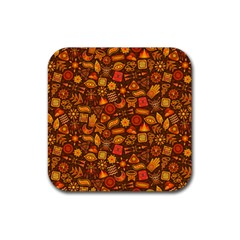 Pattern Background Ethnic Tribal Rubber Coaster (square)  by Amaryn4rt