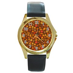 Pattern Background Ethnic Tribal Round Gold Metal Watch by Amaryn4rt