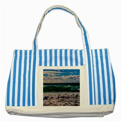 Wave Foam Spray Sea Water Nature Striped Blue Tote Bag by Amaryn4rt