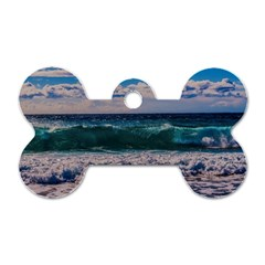 Wave Foam Spray Sea Water Nature Dog Tag Bone (two Sides)