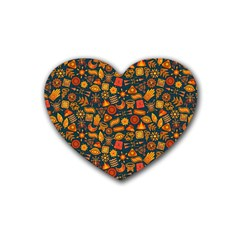 Pattern Background Ethnic Tribal Rubber Coaster (heart)  by Amaryn4rt
