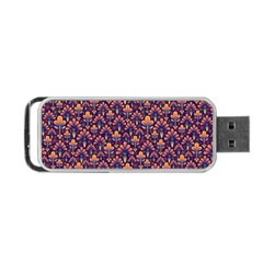 Abstract Background Floral Pattern Portable Usb Flash (one Side) by Amaryn4rt