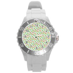 Flowers Roses Floral Flowery Round Plastic Sport Watch (l) by Amaryn4rt