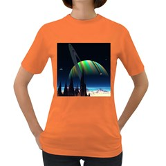 Planets In Space Stars Women s Dark T Shirt by Amaryn4rt