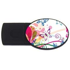 Butterfly Vector Art Usb Flash Drive Oval (4 Gb)