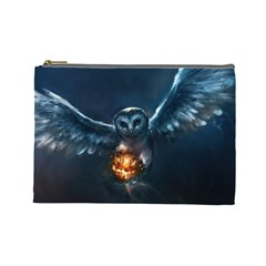 Owl And Fire Ball Cosmetic Bag (large)  by Amaryn4rt