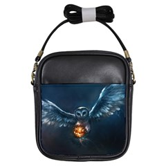 Owl And Fire Ball Girls Sling Bags by Amaryn4rt