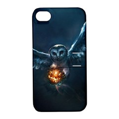 Owl And Fire Ball Apple Iphone 4/4s Hardshell Case With Stand by Amaryn4rt