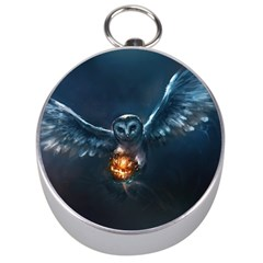 Owl And Fire Ball Silver Compasses by Amaryn4rt