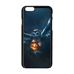 Owl And Fire Ball Apple Iphone 6/6s Black Enamel Case by Amaryn4rt