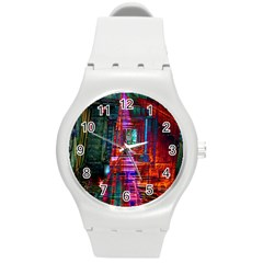City Photography And Art Round Plastic Sport Watch (m) by Amaryn4rt