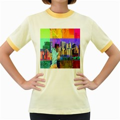 New York City The Statue Of Liberty Women s Fitted Ringer T-Shirts by Amaryn4rt