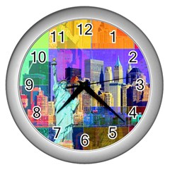New York City The Statue Of Liberty Wall Clocks (silver)