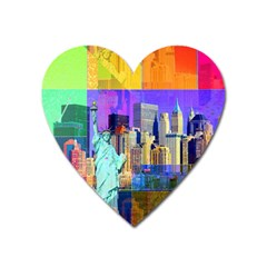 New York City The Statue Of Liberty Heart Magnet by Amaryn4rt