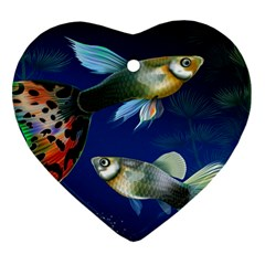 Marine Fishes Heart Ornament (two Sides)
