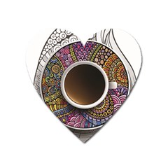 Ethnic Pattern Ornaments And Coffee Cups Vector Heart Magnet by Amaryn4rt