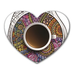 Ethnic Pattern Ornaments And Coffee Cups Vector Heart Mousepads