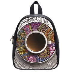 Ethnic Pattern Ornaments And Coffee Cups Vector School Bags (small)  by Amaryn4rt