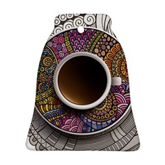 Ethnic Pattern Ornaments And Coffee Cups Vector Ornament (bell)
