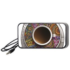 Ethnic Pattern Ornaments And Coffee Cups Vector Portable Speaker (black) by Amaryn4rt