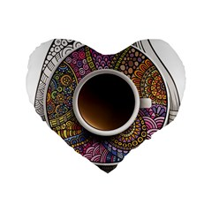 Ethnic Pattern Ornaments And Coffee Cups Vector Standard 16  Premium Flano Heart Shape Cushions