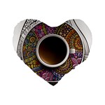 Ethnic Pattern Ornaments And Coffee Cups Vector Standard 16  Premium Flano Heart Shape Cushions Front