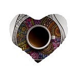 Ethnic Pattern Ornaments And Coffee Cups Vector Standard 16  Premium Flano Heart Shape Cushions Back