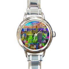 New York City Skyline Round Italian Charm Watch