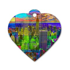 New York City Skyline Dog Tag Heart (One Side)