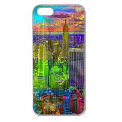 New York City Skyline Apple Seamless Iphone 5 Case (clear) by Amaryn4rt